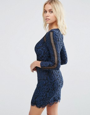 photo Saving Grace Floral Lace Dress with Trim Detailing by Goldie, color Blue - Image 2
