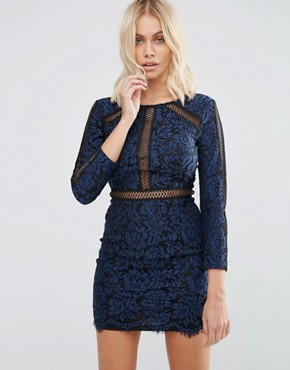 photo Saving Grace Floral Lace Dress with Trim Detailing by Goldie, color Blue - Image 1
