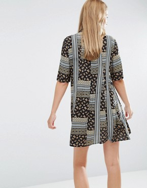 photo A-Line Dress with Collar in Mixed Print by BCBGeneration, color  - Image 2