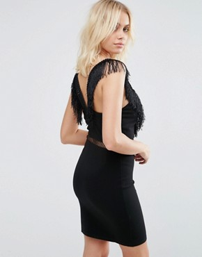 photo Last Dance Fitted Dress with Fringed Neckline and Waist Trim by Goldie, color Black - Image 2