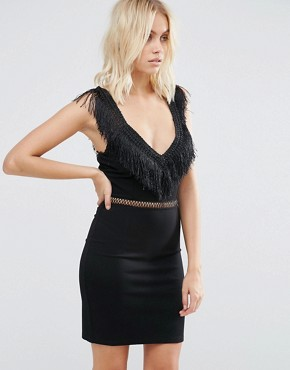 photo Last Dance Fitted Dress with Fringed Neckline and Waist Trim by Goldie, color Black - Image 1