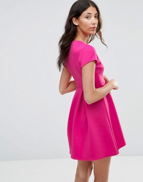 photo Plunge Front Skater Dress by Twin Sister, color Pink - Image 2