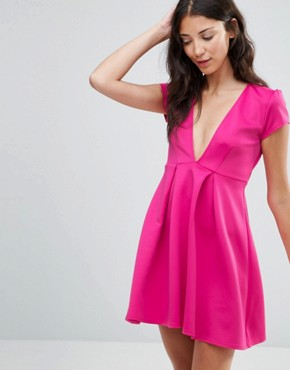 photo Plunge Front Skater Dress by Twin Sister, color Pink - Image 1