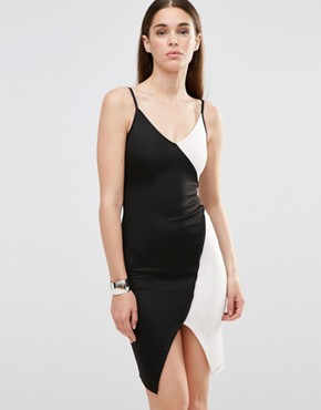 photo Bodycon Cami Dress with Contrast Mono Panels by Twin Sister, color Black/White - Image 1