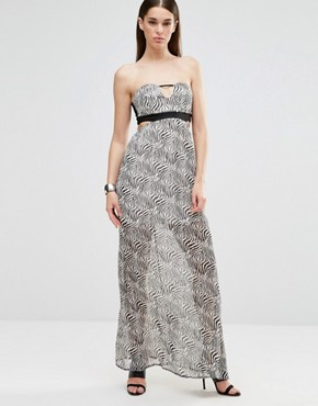 photo Sleeveless Cut Out Maxi Dress by Twin Sister, color Zebra - Image 1