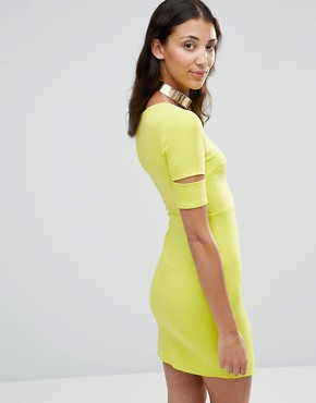 photo Bodycon Dress with Cut-Out Sleeves by Twin Sister, color Lime - Image 2
