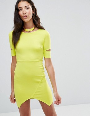 photo Bodycon Dress with Cut-Out Sleeves by Twin Sister, color Lime - Image 1