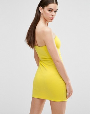 photo Scuba Mini Sweetheart Bodycon Dress with Wrap Over Skirt by Twin Sister, color Yellow - Image 2