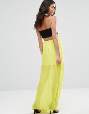 photo Sleeveless Cut Out Maxi Dress by Twin Sister, color Lime - Image 2