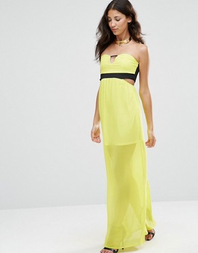 photo Sleeveless Cut Out Maxi Dress by Twin Sister, color Lime - Image 1