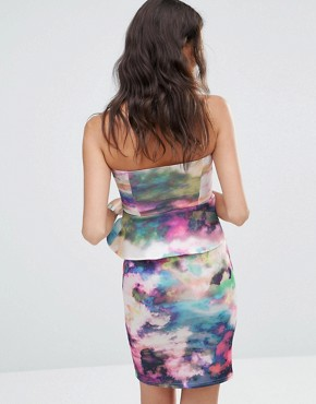 photo Scuba Mini Sweetheart Dress with Peplum by Twin Sister, color Marble - Image 2