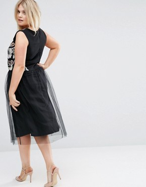photo Embellished Top Dress with Tulle Skirt by Praslin Plus, color Black - Image 2