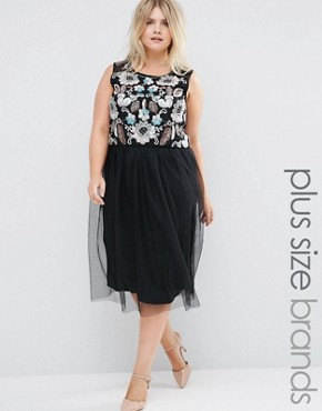 photo Embellished Top Dress with Tulle Skirt by Praslin Plus, color Black - Image 1