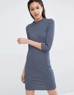 photo Stripe Bodycon Dress by Just Female, color Blue - Image 1