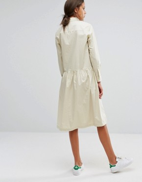 photo Button Front Long Sleeve Dress with Collar Detail by ADPT Tall, color Cream - Image 2