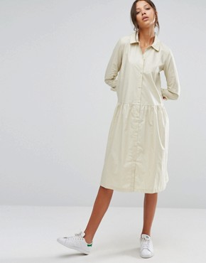 photo Button Front Long Sleeve Dress with Collar Detail by ADPT Tall, color Cream - Image 4