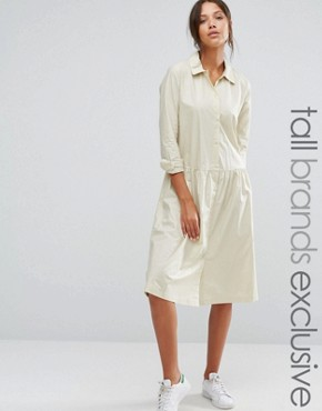 photo Button Front Long Sleeve Dress with Collar Detail by ADPT Tall, color Cream - Image 1