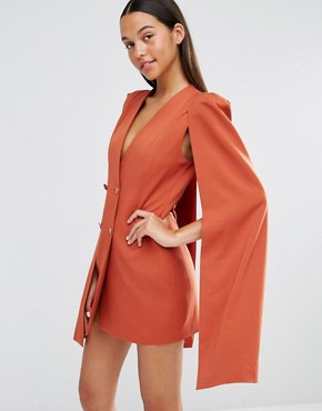 photo Split Back Cape Dress by Lavish Alice, color Teracotta - Image 1