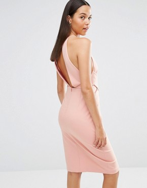 photo Wrap Front Plunge Back Detail Midi Dress by Lavish Alice, color Rose Pink - Image 2
