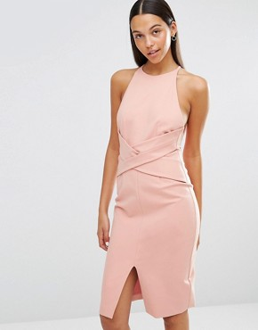 photo Wrap Front Plunge Back Detail Midi Dress by Lavish Alice, color Rose Pink - Image 1
