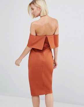 photo Deep Bandeau Asymmetric Hem Midi Dress by Lavish Alice, color Teracotta - Image 2