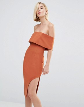 photo Deep Bandeau Asymmetric Hem Midi Dress by Lavish Alice, color Teracotta - Image 1