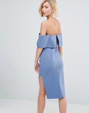 photo Deep Bandeau Asymmetric Hem Midi Dress by Lavish Alice, color Petrol Blue - Image 2