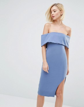 photo Deep Bandeau Asymmetric Hem Midi Dress by Lavish Alice, color Petrol Blue - Image 1