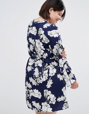 photo Tunic Shirt Dress In Floral Print by AX Paris Plus, color Blue Floral - Image 2