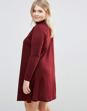 photo Swing Dress With High Neck by AX Paris Plus, color Wine - Image 2