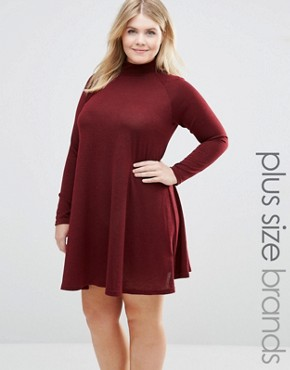 photo Swing Dress With High Neck by AX Paris Plus, color Wine - Image 1