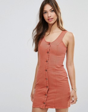 photo Wild At Heart Button Front Shift Dress by Minkpink, color Terra Cotta - Image 1