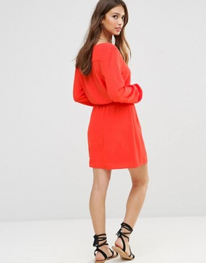 photo Long Sleeve Tunic Dress by Minkpink, color Tangerine - Image 2