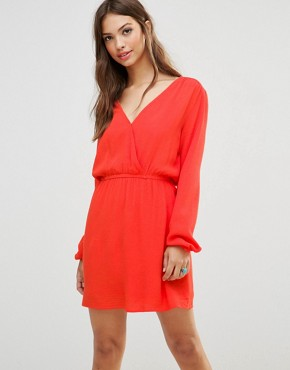 photo Long Sleeve Tunic Dress by Minkpink, color Tangerine - Image 1