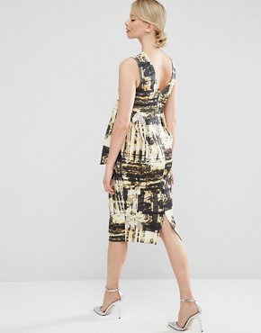 photo Knot Side Midi Dress in Abstract Print by ASOS Maternity, color  - Image 2