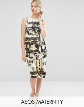 photo Knot Side Midi Dress in Abstract Print by ASOS Maternity, color  - Image 1