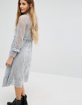 photo High Neck Lace Dress with Delicate Flowers by Navy London, color Grey - Image 2