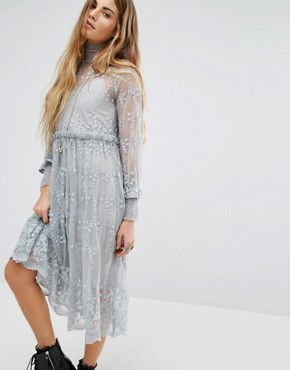 photo High Neck Lace Dress with Delicate Flowers by Navy London, color Grey - Image 1