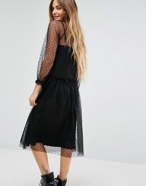 photo High Neck Lace Dress In Spot with Slip by Navy London, color Black - Image 2