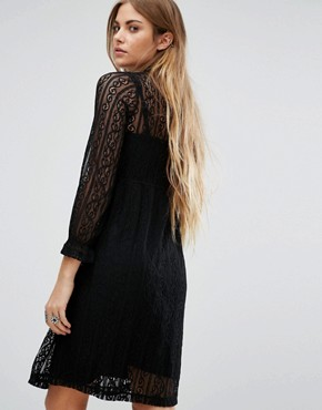 photo High Neck Lace Dress with Slip by Navy London, color Black - Image 2