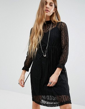 photo High Neck Lace Dress with Slip by Navy London, color Black - Image 1