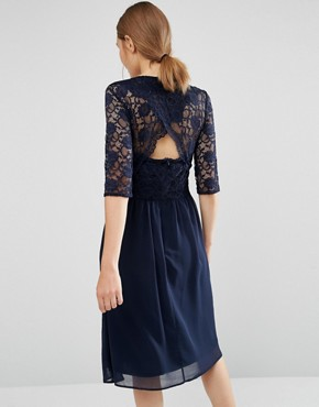 photo Midi Dress with Scallop Lace by Elise Ryan, color Navy - Image 2