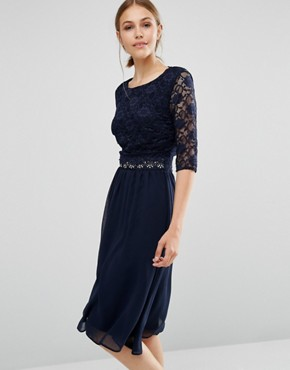 photo Midi Dress with Scallop Lace by Elise Ryan, color Navy - Image 1