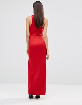 photo Asymmetric Maxi Dress With Side Split by AX Paris, color Red - Image 2