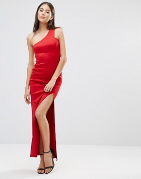 photo Asymmetric Maxi Dress With Side Split by AX Paris, color Red - Image 1