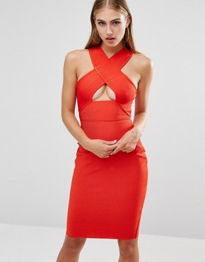 photo Bandage Cross Strap Cut Out Midi Dress by Missguided Premium, color Red - Image 1
