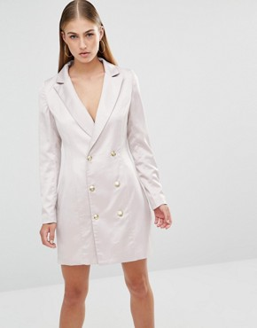 photo Satin Tux Dress by Missguided, color Mink - Image 1