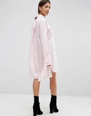 photo Cotton Shirt Dress with Oversized Cuff & Bow Detail by ASOS, color Pink - Image 2