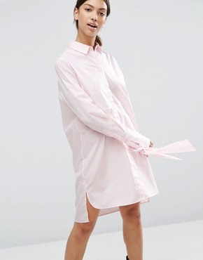 photo Cotton Shirt Dress with Oversized Cuff & Bow Detail by ASOS, color Pink - Image 1