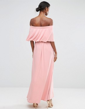 photo Off Shoulder Frill Maxi Dress by ASOS Maternity WEDDING, color Nude - Image 2